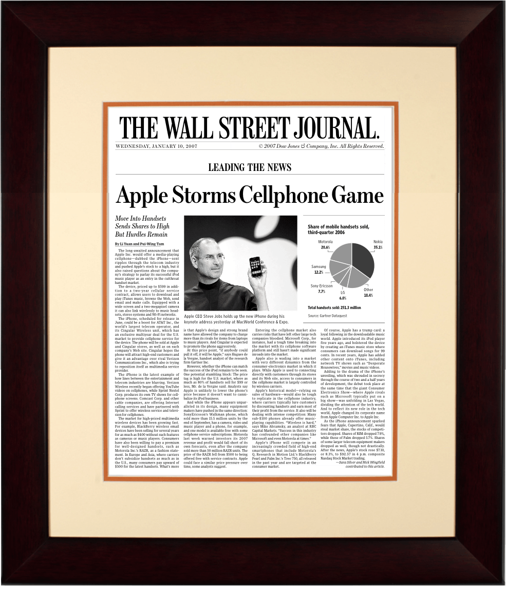 First iPhone Launch | The Wall Street Journal, Framed Article Reprint, Jan. 10, 2007
