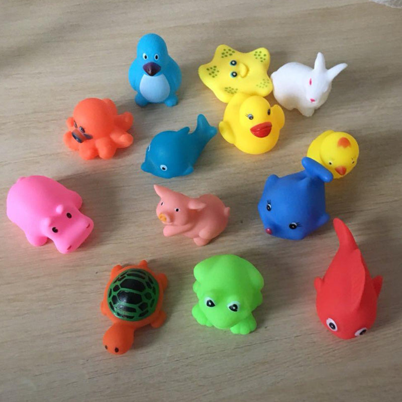 13 Pcs Mixed Animals Swimming Water Toys Colorful Soft Rubber Float ...
