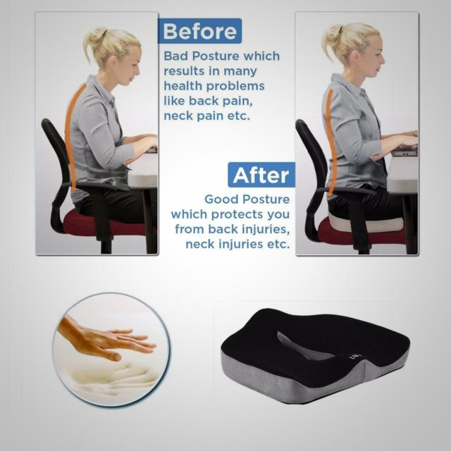 Seat Cushion For Back Pain >> Memory Foam Seat Cushion For Back Pain Sciatica Orthopaedic