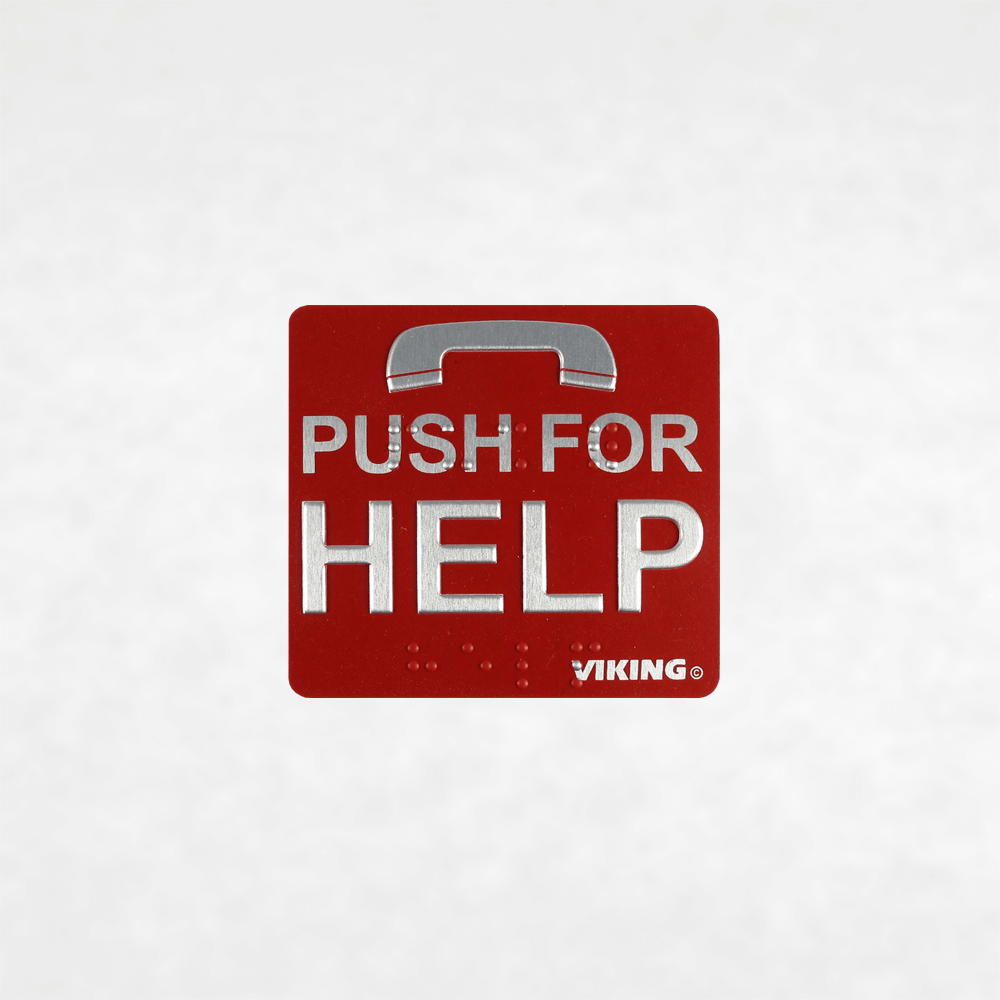 "<h3>260572</h3> Red ""Push for Help"" Braille Label"