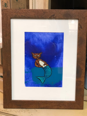 MerKitten Original Painting Framed