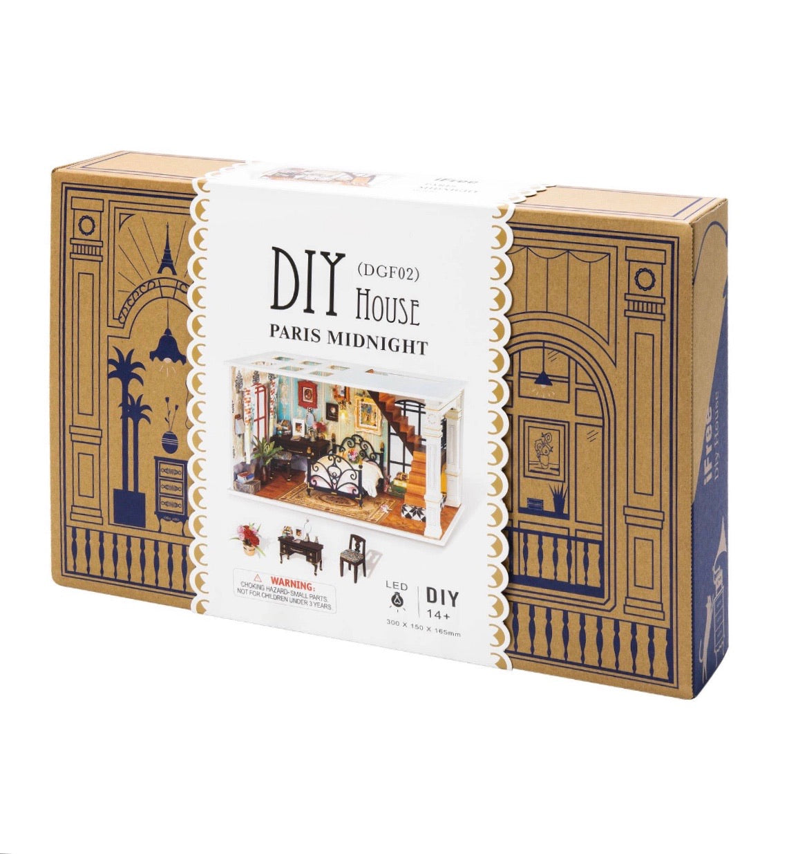 Paris Bedroom DIY Dollhouse Miniature Kit
