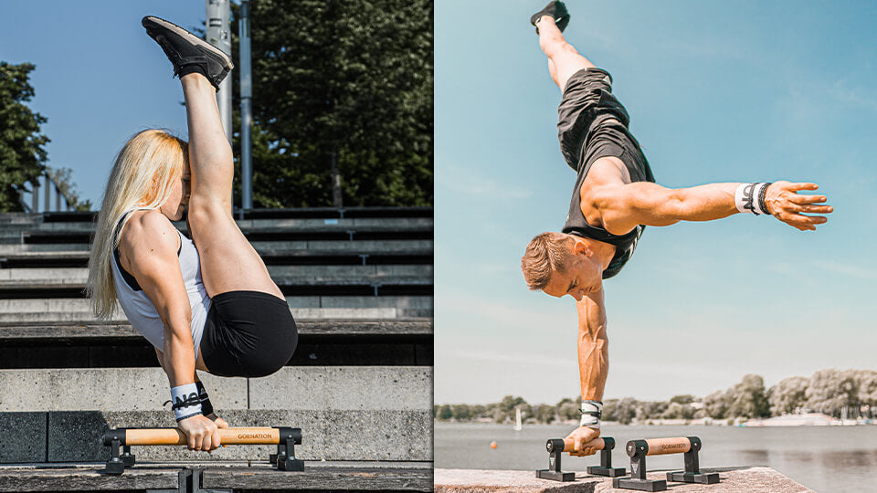 athlete holding a one arm handstand and female athlete holding a v-sit