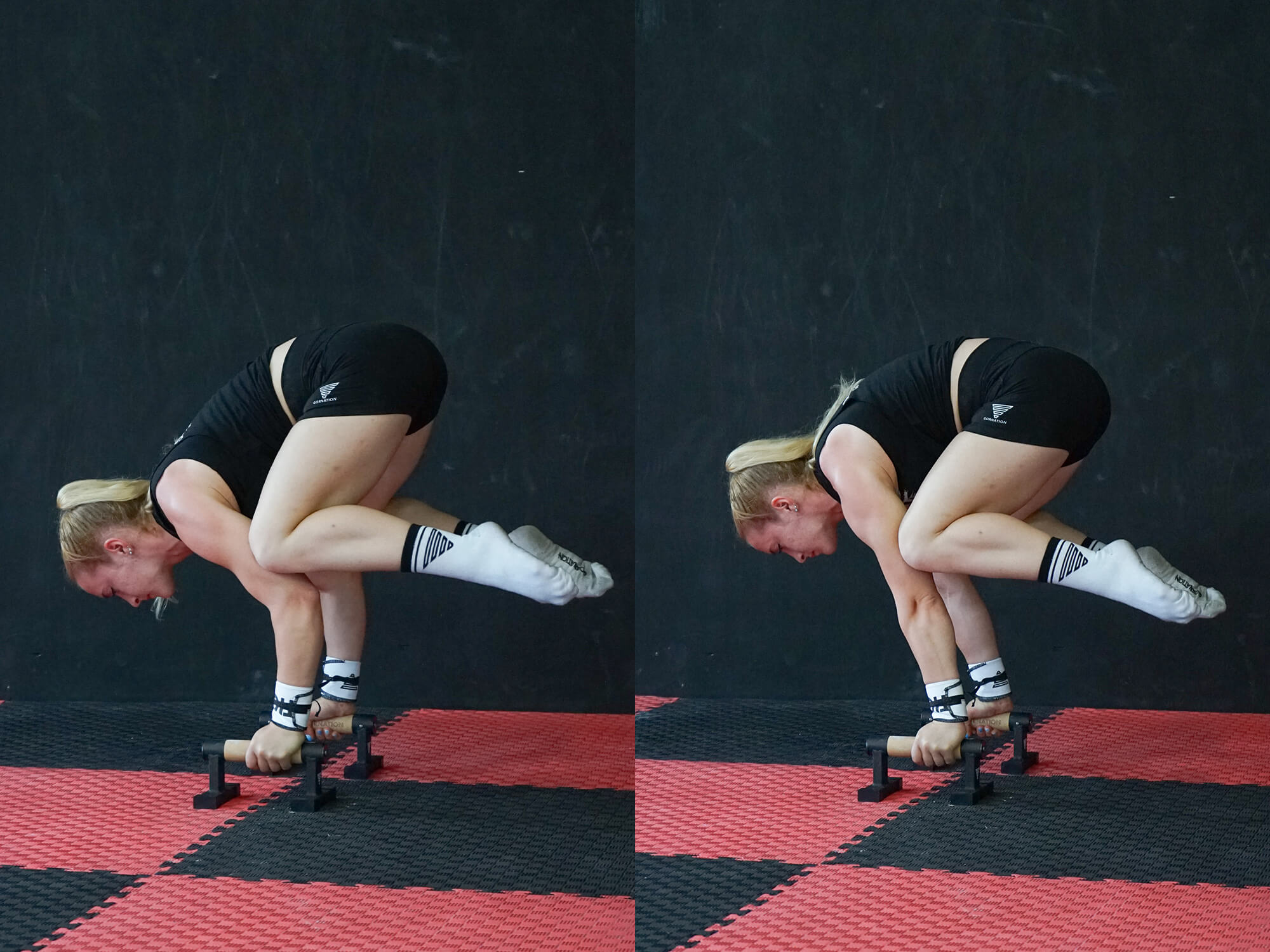women doing frog stand on push up bars