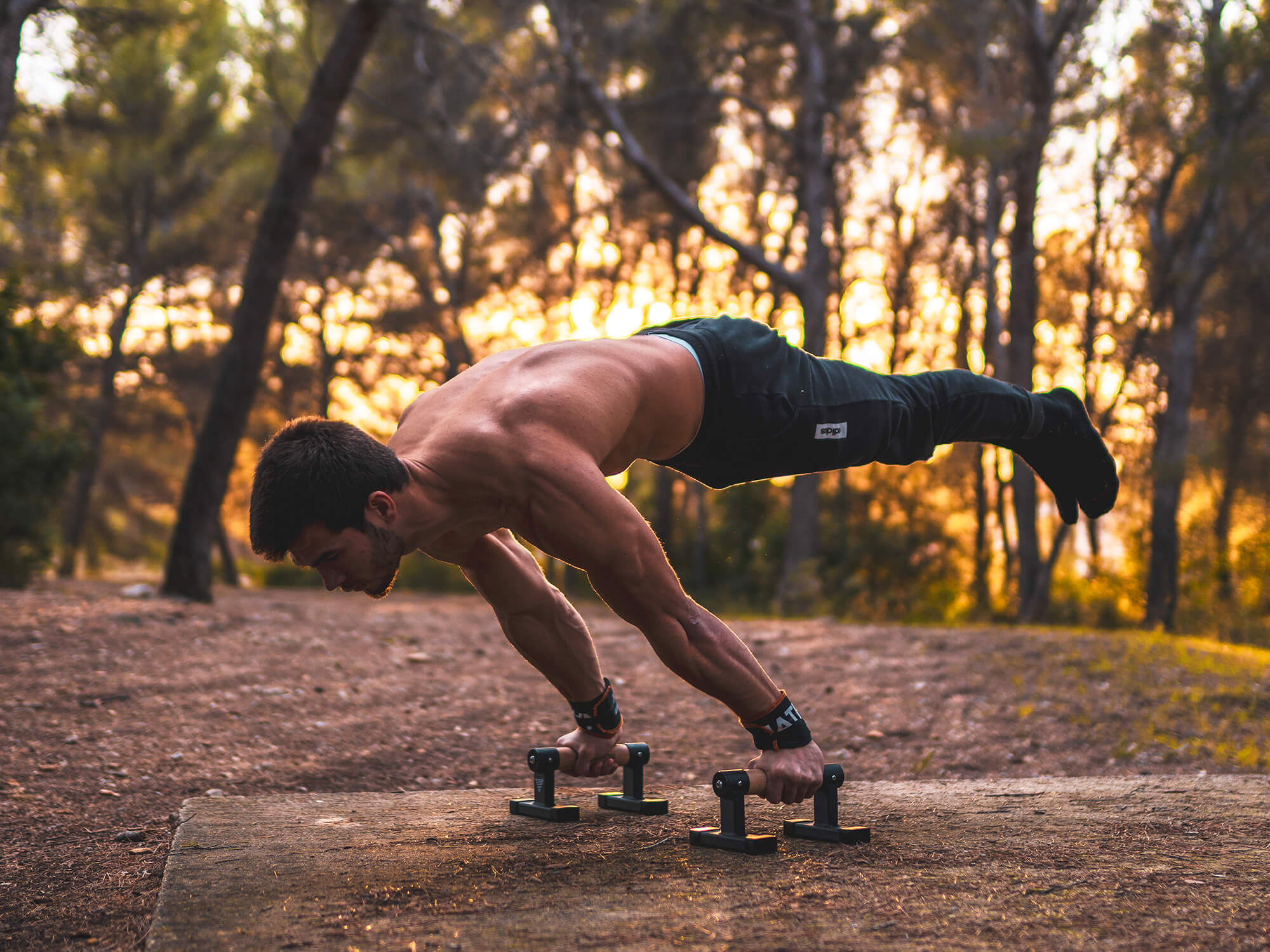 athlete holding a full planche on parallettes
