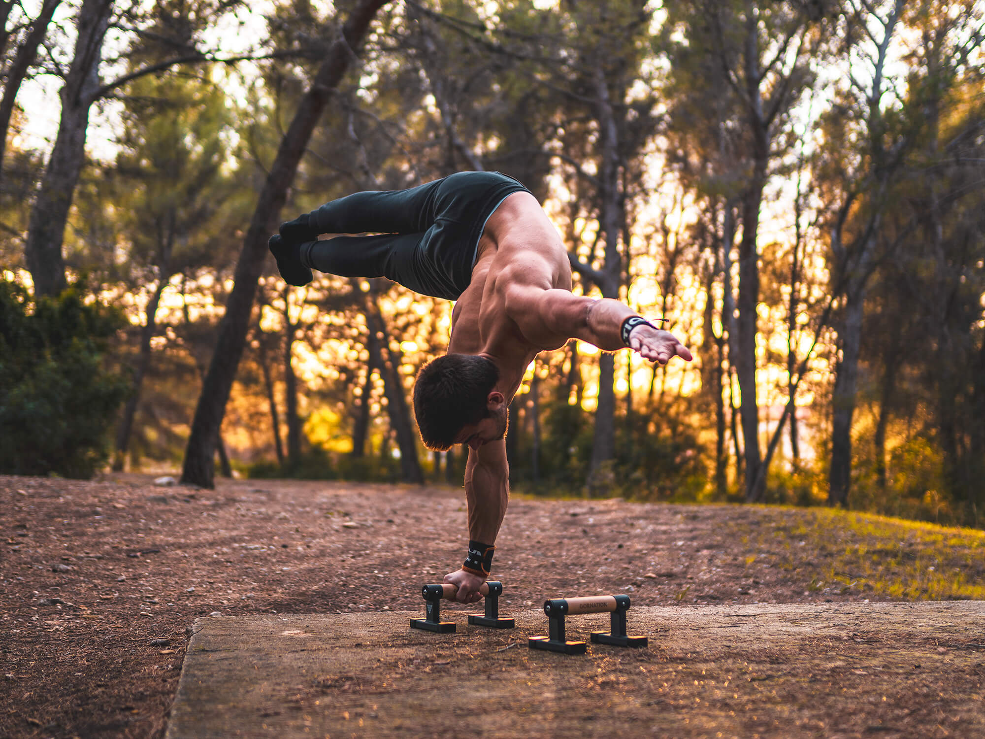 guy holding a one arm handstand flag on parallettes