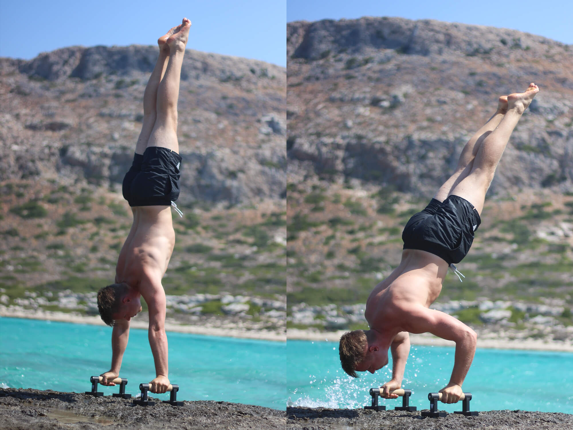athlete performing handstand push ups on parallettes