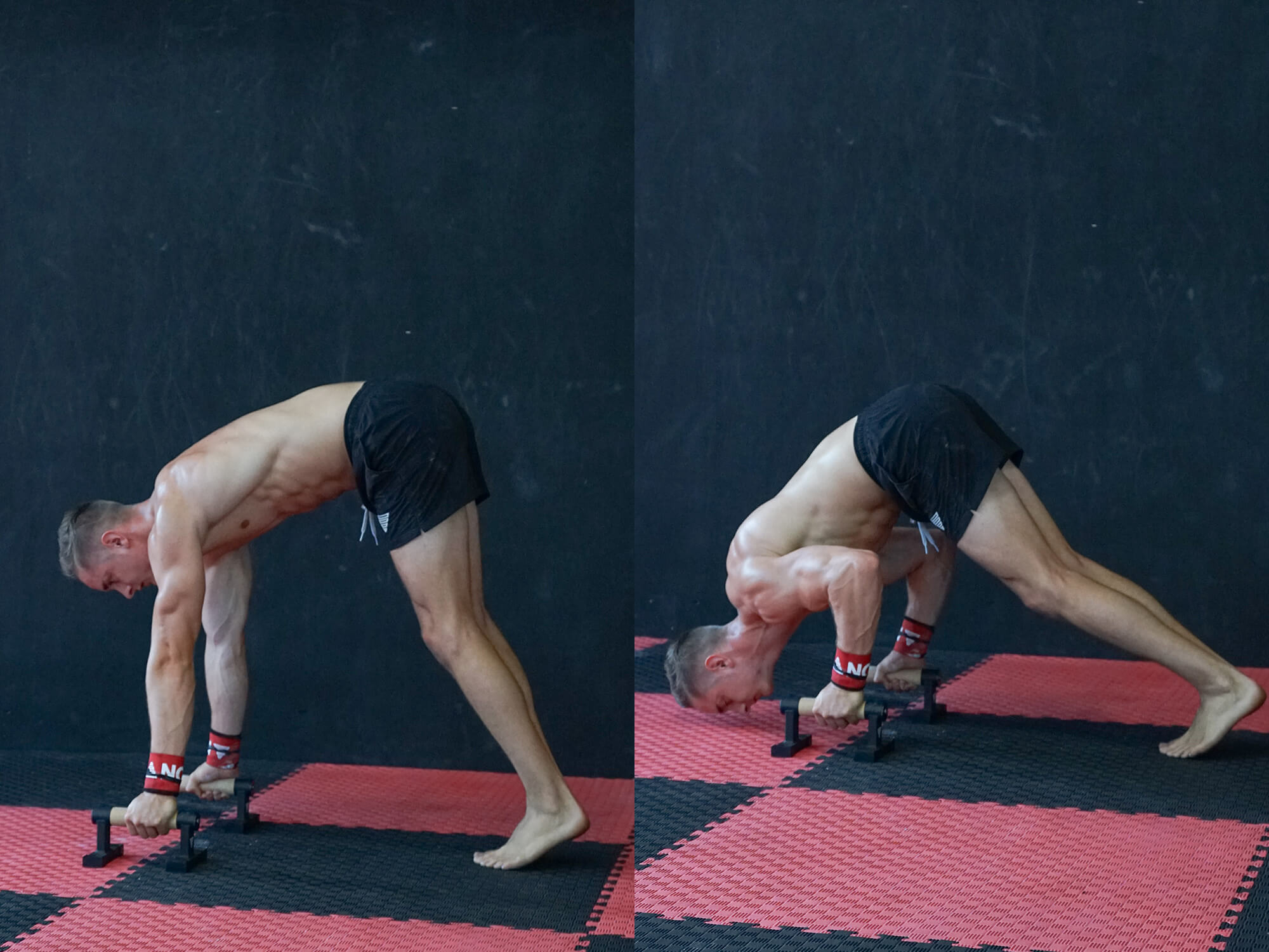 athlete doing push up variations on parallettes