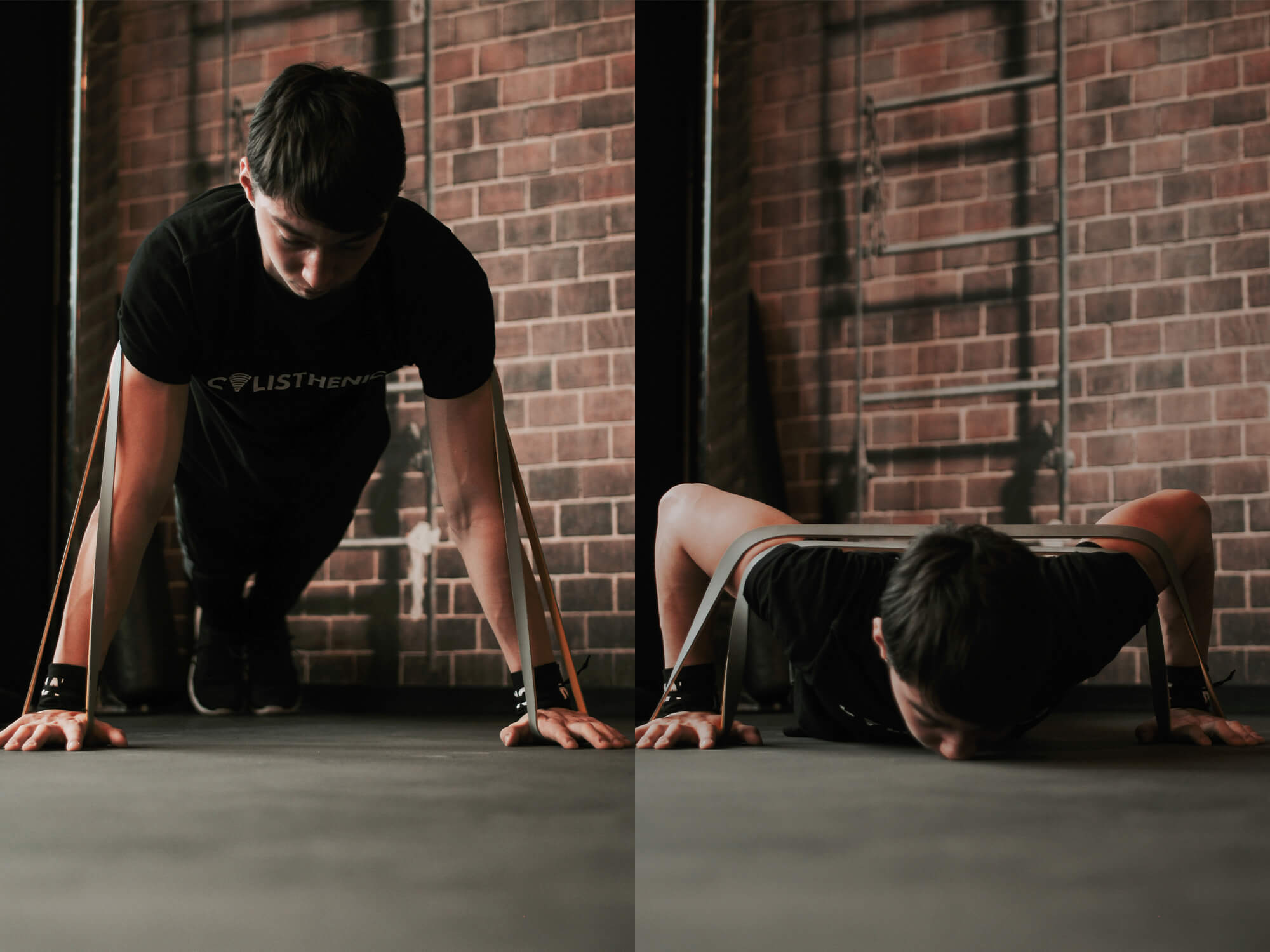 guy doing push ups with a resistance band