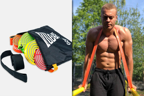 athlete doing dips with resistance band