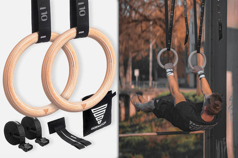 athlete holding front lever on workout rings