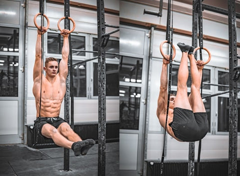 athlete is doing ab exercises on workout rings