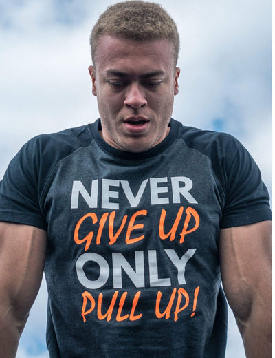 Never Give Up Shirt Men Orange