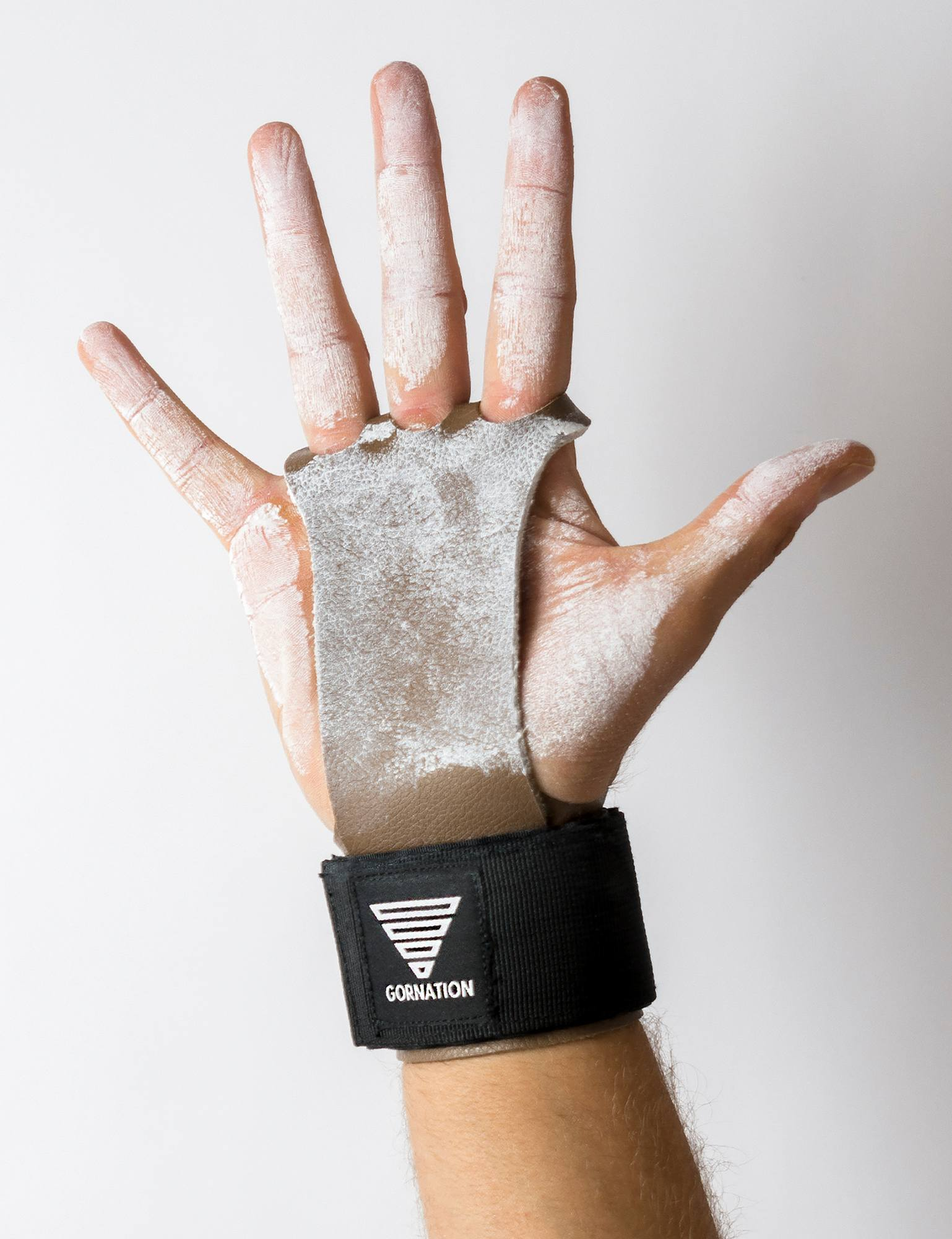 Workout Grips, Brown Leather and Black Wrist Wrap