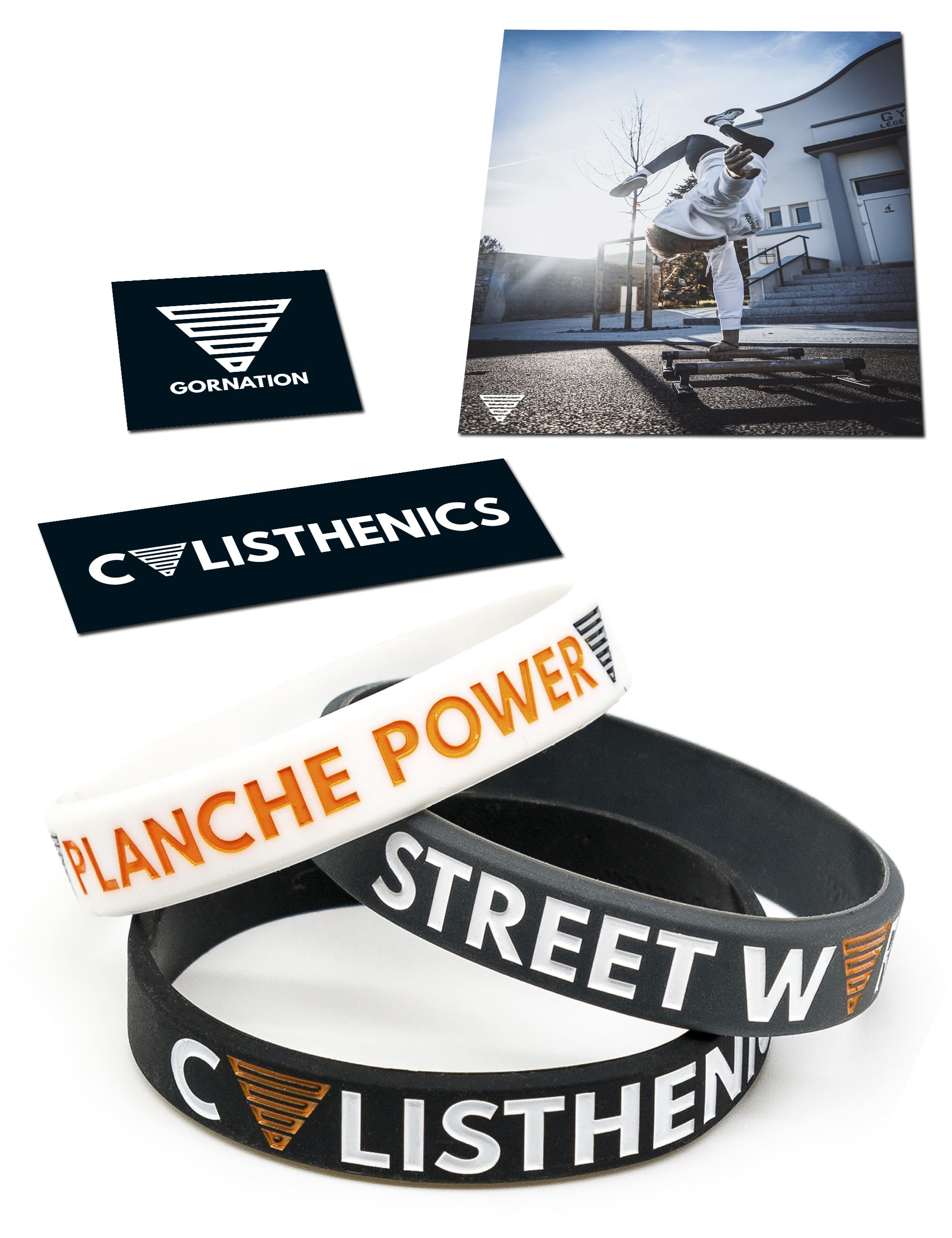 3 wristband, first white wristband is planche power. second black armband is street workout, third black armband is calisthenics