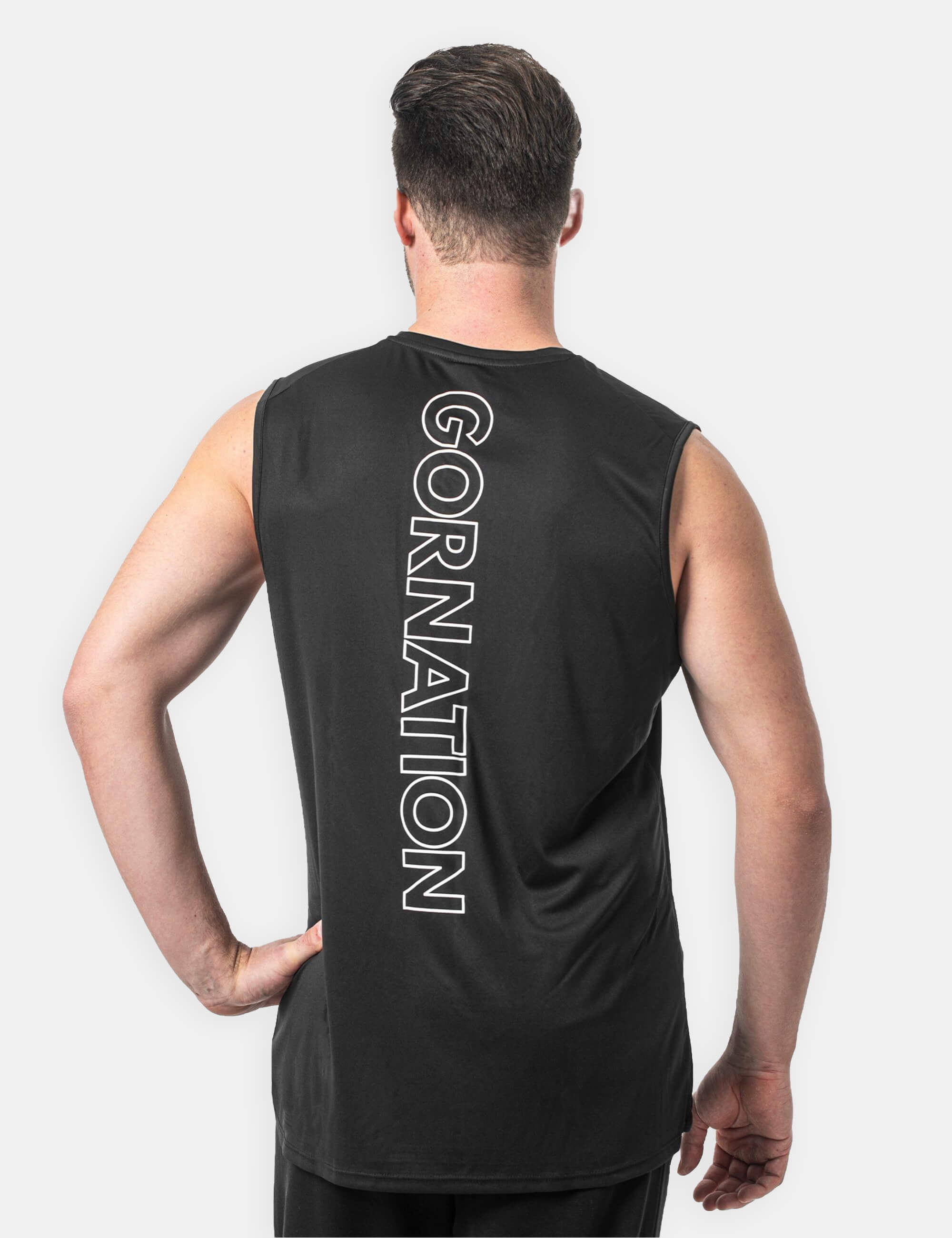 Black perfomance tank top for men front side showing the performance logo.