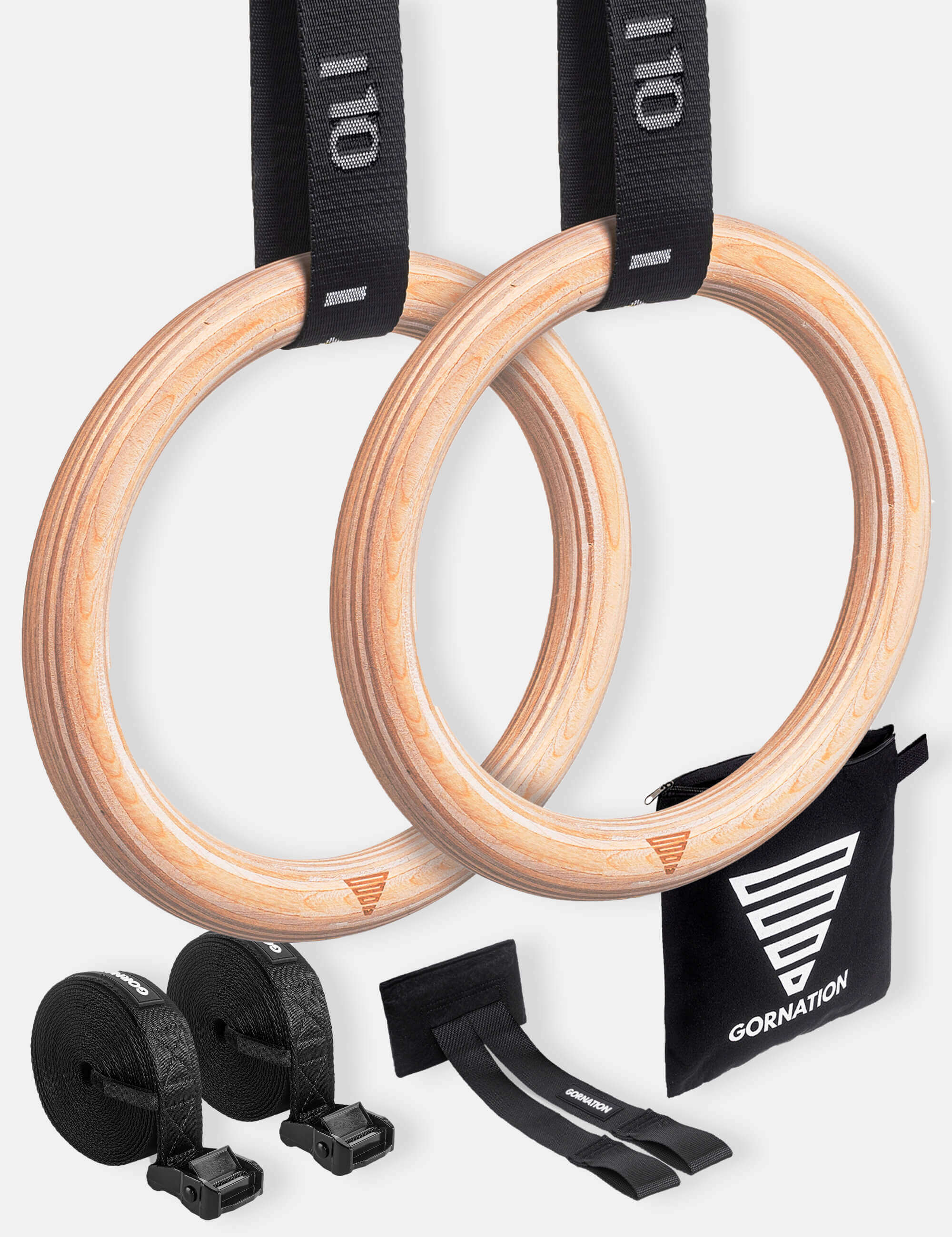 GORNATION Workout Rings Set with high quality straps, dual door anchor and a carry bag