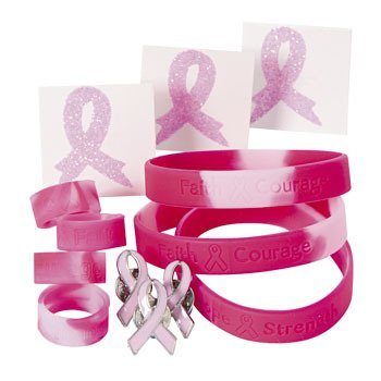 48 PC -Pink Ribbon Assortment Set- (12) Pink Camo Bracelets, (12) Pink Ribbon Pins, (12) Pink Camo Rings, (12) Pink Ribbon Glitter tattoos