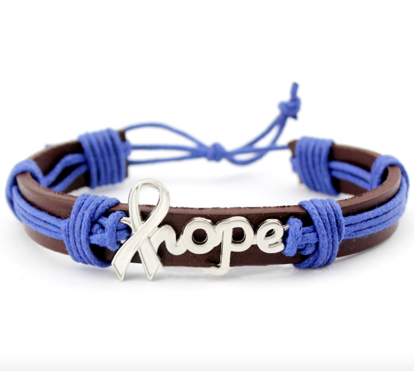 Blue Ribbon hope bracelet for Colon Cancer Awareness