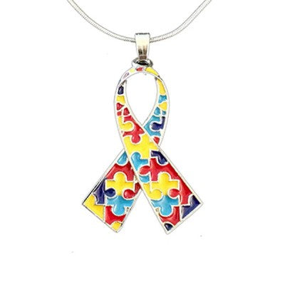 Autism Awareness Ribbon Pendant with Necklace