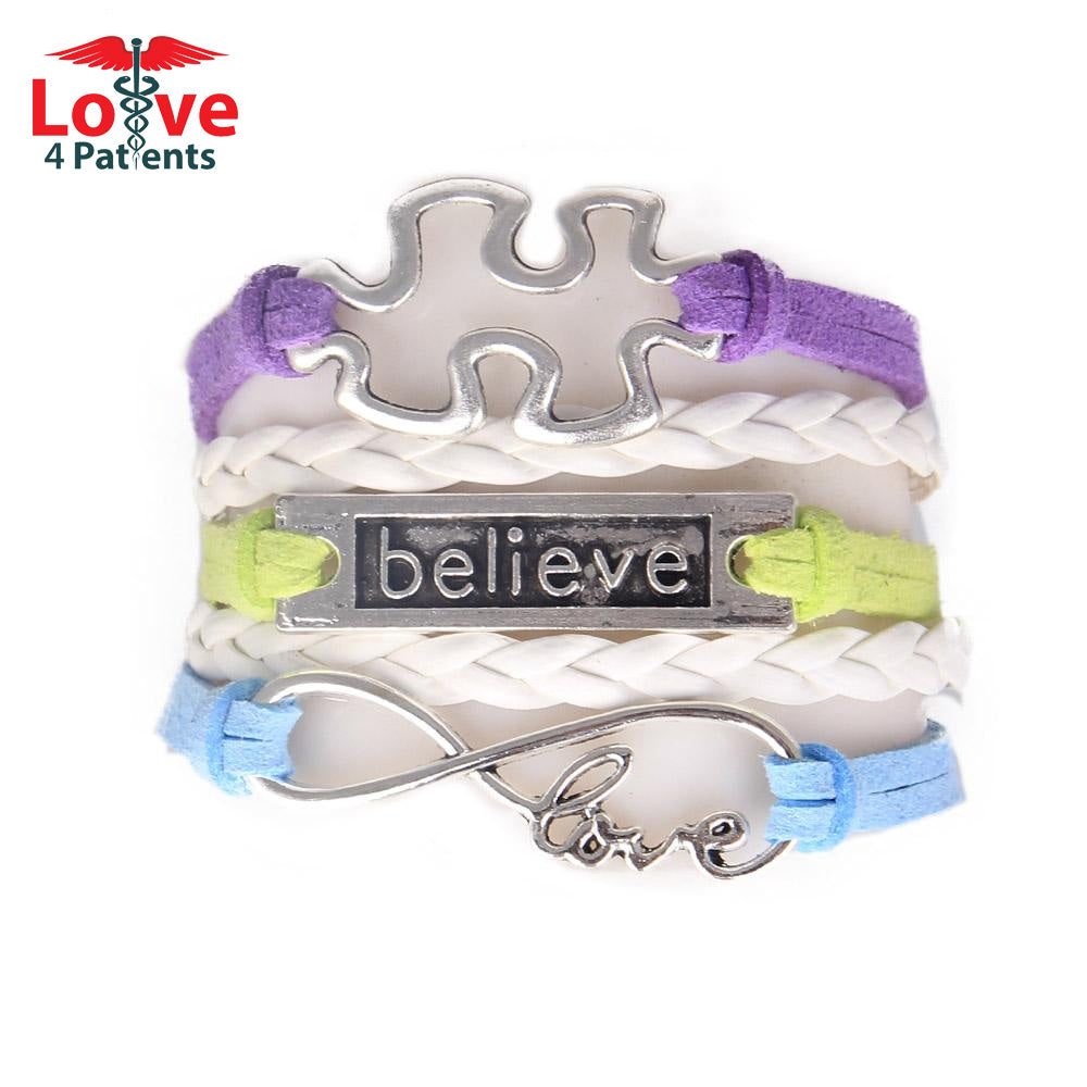 "Custom Hand-made Puzzle Piece Autism Awareness ""Believe"" Hope Leather Bracelet"