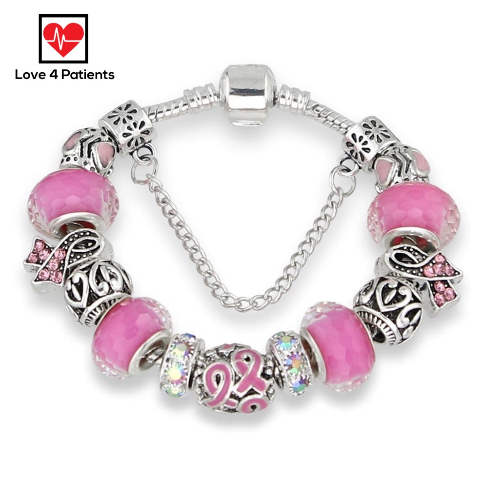 Breast Cancer Awareness Pink Ribbon Charm Bracelet Beaded Love Ribbon SILVER
