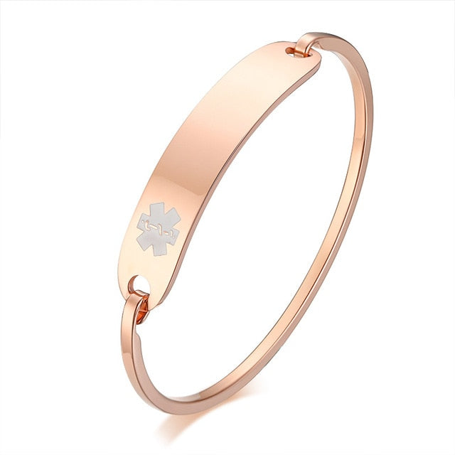 Custom Engraved Medical Alert ID Cuff Bangle Bracelet for Female Patients (Stainless Steel Gold/Silver Color Cuff Design)