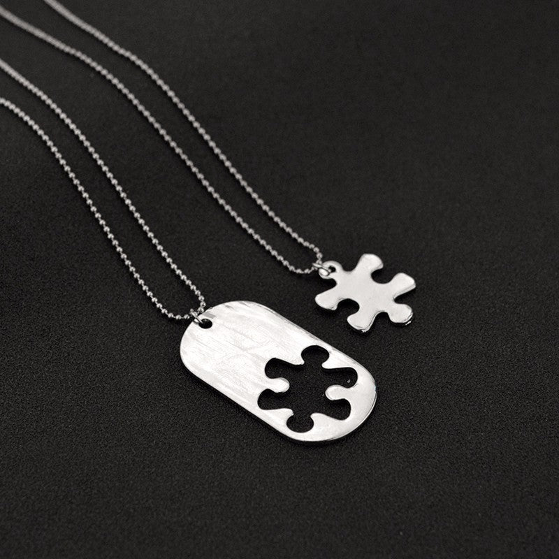"""THE LOVE BETWEEN US WILL BE FOREVER AND EVER"" 2-piece Necklace Autism Gift Set"