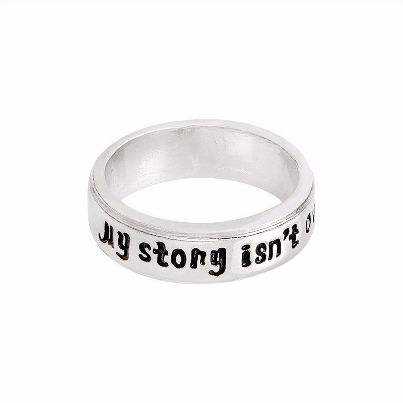 """My story isn't over yet"" Semicolon; Suicide Awareness Ring"