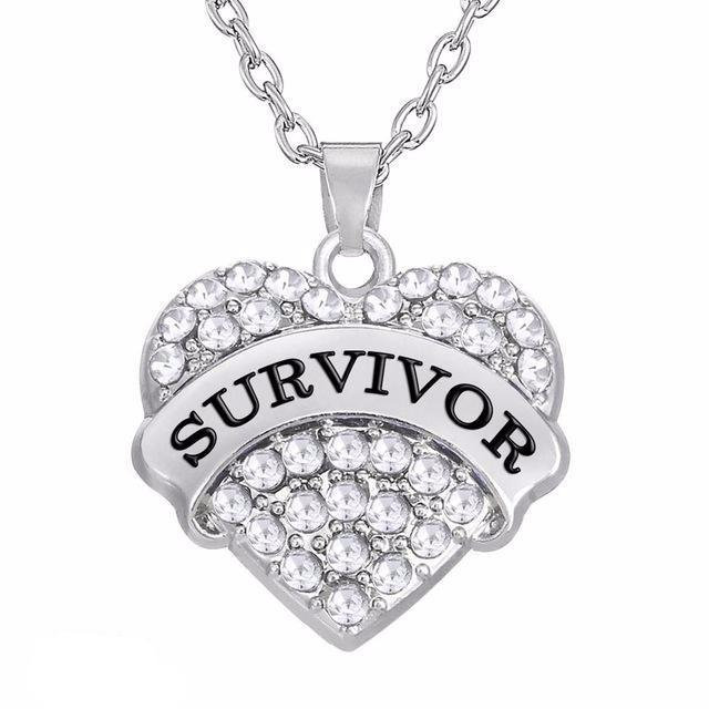 Antique silver SURVIVOR Pendant Necklace Jewelry for Breast Cancer Support and Awareness