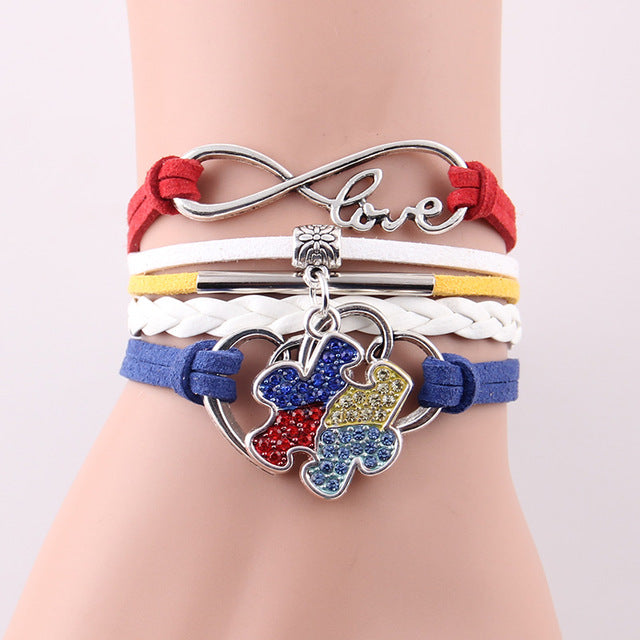 Custom Hand-made Puzzle Piece Autism Awareness Hope Leather Bracelet w/ Rhinestone