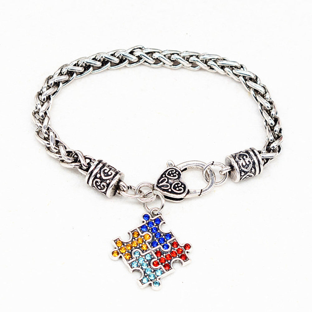 Hand-made Autism Awareness Multi-Colored Rhinestone Puzzle Bracelet