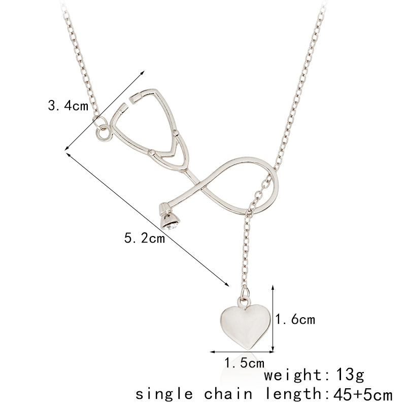 Stethoscope and Heart Pendant Necklace