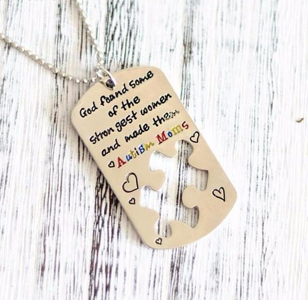 Autism Awareness Pendant military dog tag style for Moms