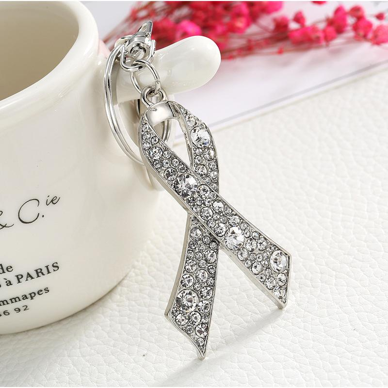 Crystal Ribbons Link Key Chain for Breast Cancer Prevention/Awareness