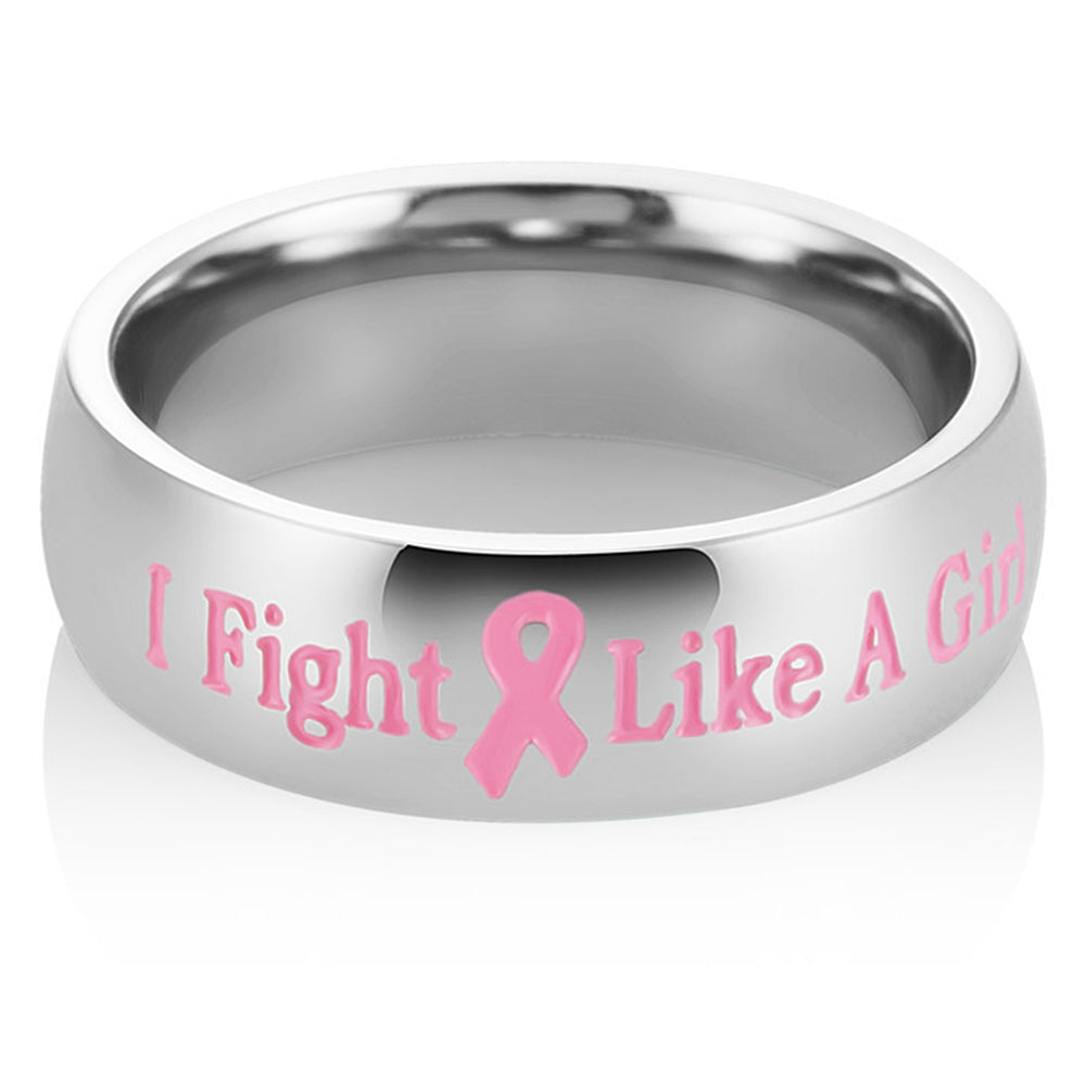 I Fight Like a Girl - Stainless Steel Pink Ribbon Breast Cancer Awareness Ring