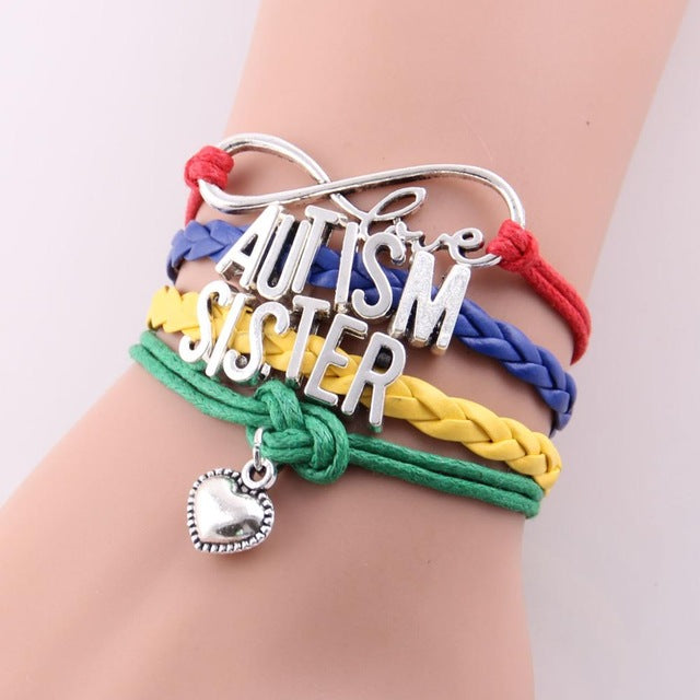 Custom Hand-made Puzzle Piece Autism Family Awareness Hope Leather Bracelet