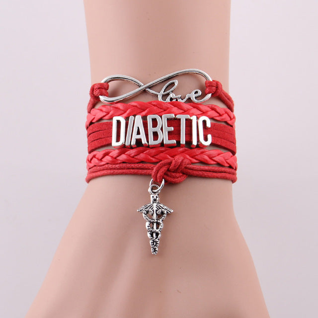 Diabetic red hope bracelet for Diabetes Awareness