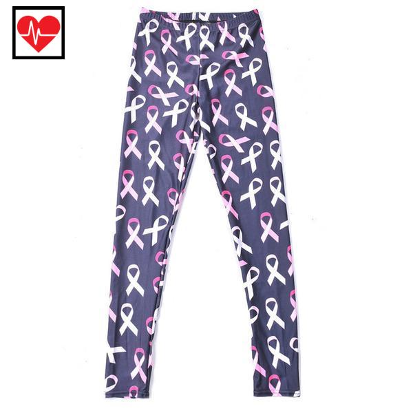 Pink Ribbon Breast Cancer Awareness Fitness Leggings