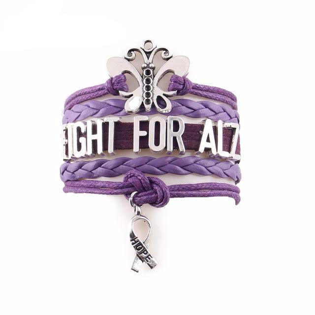 """Fight For Alz"" hope bracelet for Alzheimer's Disease Awareness"