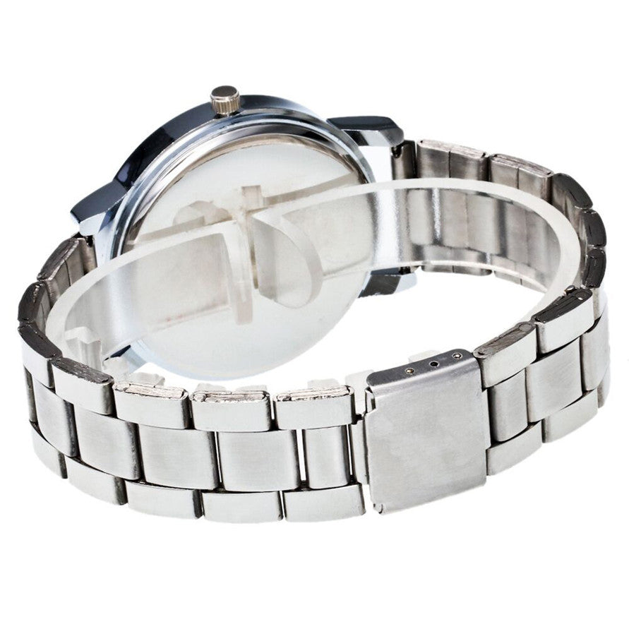 HIV Symbol Stainless Steel Wrist Watch with Rhinestones