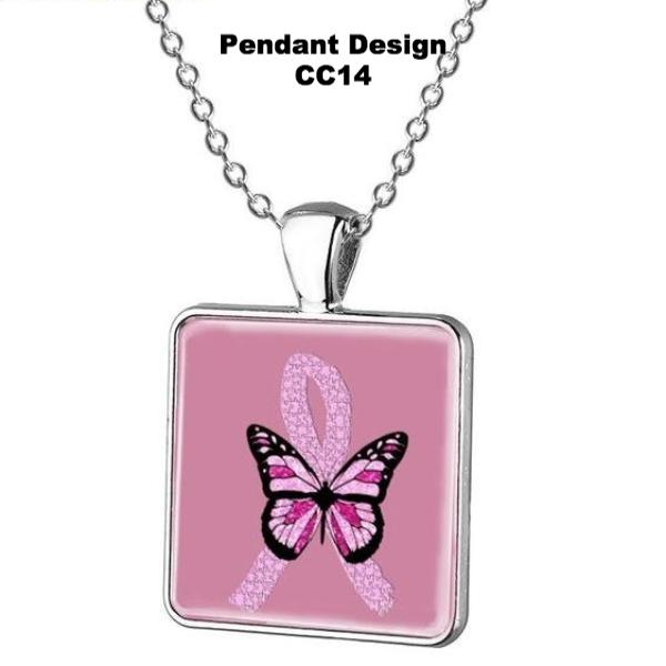 Breast Cancer Awareness Square Glass Pendant w/Necklace