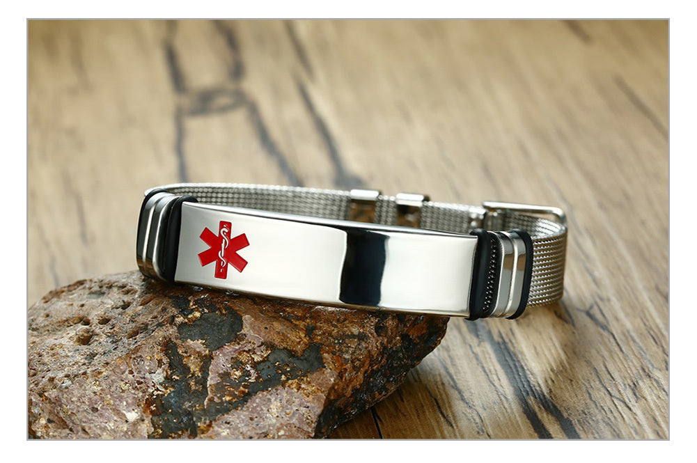 Custom Engraved Medical Alert ID Bracelet - Stainless Steel Adjustable Watch Band Design