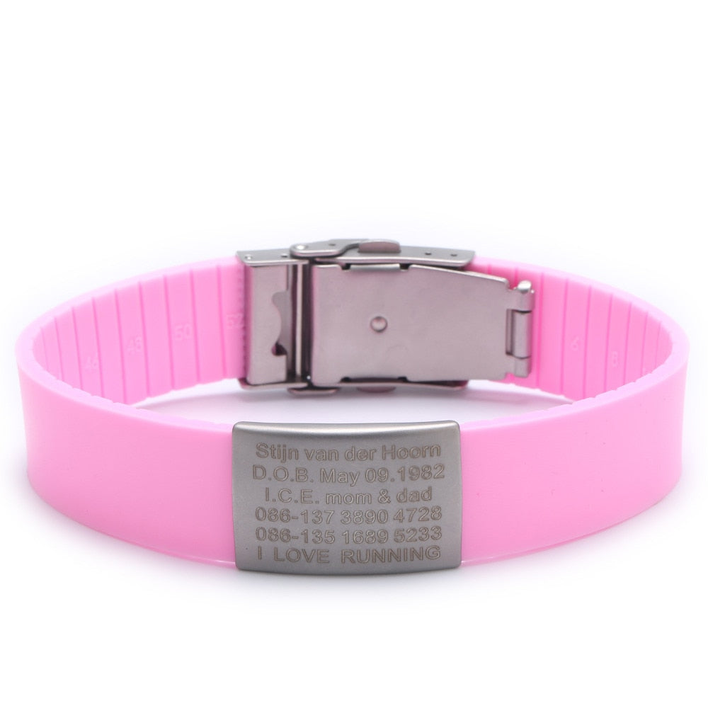 Silicone Custom Engraved Medical Alert ID Bracelet for Kids