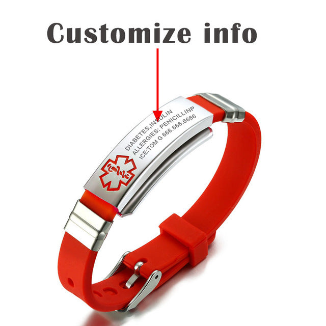 Custom Engraved Medical Alert Identity ID Silicone Bracelet Wristband for Patients