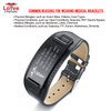 Unisex Black Genuine Leather Custom Engraved Medical Alert ID Bracelet (Wide Tag)