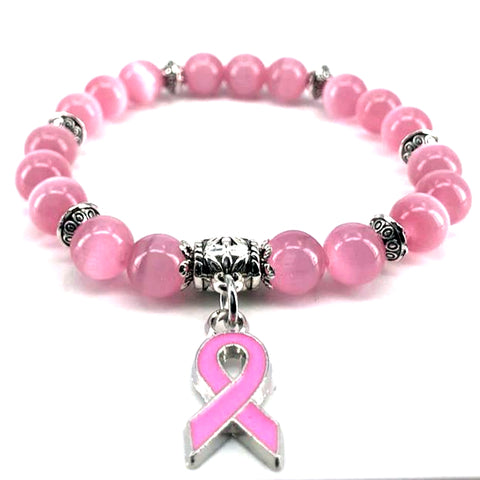 Breast Cancer Awareness Beads Bracelet