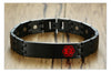 Custom Engraved Medical Alert Identity ID Magnetic Stainless Steel Bracelet Wristband