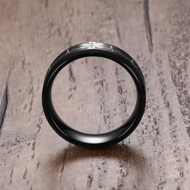 Laser Engraved EMT Symbol Black Stainless Steel Ring for Men