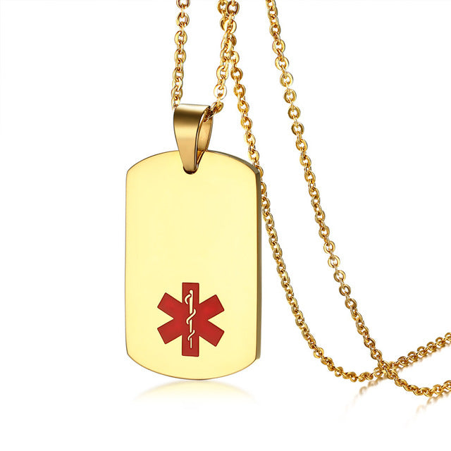 Custom engraved gold medical alert id tag necklace pendant stainless custom engraved gold medical alert id tag necklace pendant stainless steel chain for patients aloadofball Images